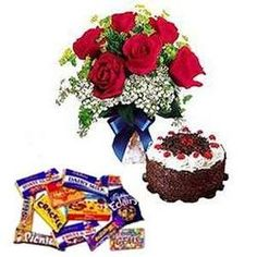 Assorted Gifts  Cute bunch of 10 roses, Half kg.cake of your choice and 10 assorted cadbury chocol