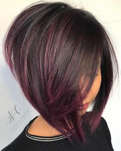 14 Angled Purple Bob Cut and to Make a Change this Summer; # hair color ideas for women - Hair Color Ideas Bob Hair Color, Haircut And Color, Winter Hair Color Short, Inverted Bob Hairstyles, Easy Hairstyles, Hairstyles Pictures, Woman Hairstyles, A Line Hairstyles, Edgy Bob Haircuts