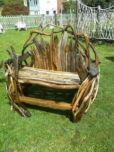 Driftwood Garden Art | bench, driftwood furniture,garden, beach,or deck art made by ...