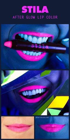Glow in the dark lip color. Would be cool for parties! You do everybody's make-up with that lipstick and then when it's dark go and play outside! Beauty Makeup, Hair Makeup, Hair Beauty, Glowy Makeup, Blacklight Party, Lipgloss, Neon Lipstick, Lipsticks, Dark Lipstick