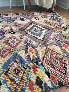 Moroccan Rug, Vintage, Cotton, Boucherouite