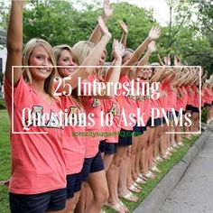 "• Questions to Ask PNMs During Recruitment • Interviewing PNMs during rounds can be quite challenging. So go beyond the standard ho-hum questions like, ""What's your major?"" You'll have more interesting conversations and it will be a lot more fun. The key is to absolutely avoid yes/no questions. With each PNM, you want to dig a little deeper, learn about her character and see what's most important to her. * If you were a new addition to the crayon box, what color would you be a..."