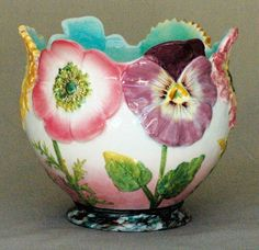 Majolica Cache Pot with Flowers by Delphin Massier