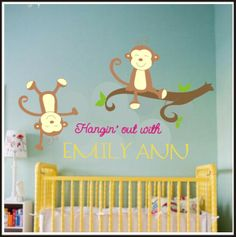 monkey nursery ideas | adore this monkey nursery decal ! If/when I have a baby girl, this ...