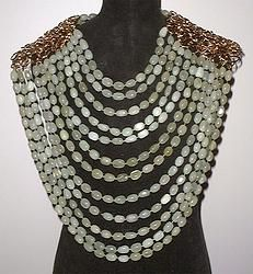 "Plastron Necklace in Serpentine Stone "" No Panic"""