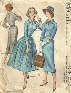 McCalls 4249 Vintage 50s Sewing Pattern Dress by studioGpatterns, $12.50