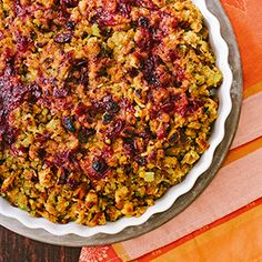 Cranberry-Ginger Stuffing recipe presented by Hannaford Supermarket. Add recipe ingredients straight to your shopping list! Nutrition facts and printable recipes available. Christmas Recipes, Thanksgiving Recipes, Fall Recipes, Stuffing Recipes, Casserole Recipes, Cranberry Chutney, Cranberry Recipes, Celery, Casseroles