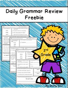 Grammar Review for 2nd grade---click on preview for FREE sample pages-- rhyming, prefixes/suffixes, syllables, pronouns, capitalization, punctuation, collective nouns, verbs, and more