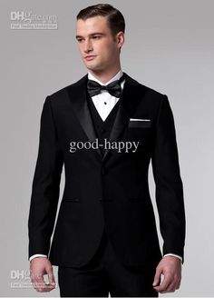 You will become such a outstanding man with  hot--classic designer black groom tuxedos men's wedding dress prom dress(jacket+pants+ bows tie+vest)a4160 offered by good-happy. Besides, DHgate.com also provide black tuxedo with tails black tuxedos for prom and black wedding tuxedos suits.