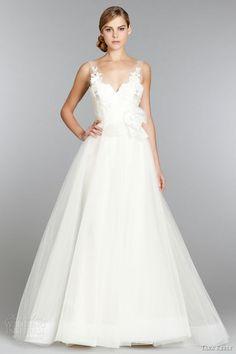 tara keely bridal fall 2013 sleeveless ball gown wedding dress trumpet skirt illusion v neck lace horsehair hem style 2353