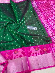 fadd0caeeb26b Kuppadam Pattu Sarees with Ikat Silver Borders   Contrast Rich Pallu   Contrast  Plain Blouse