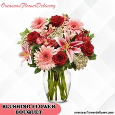 Make sure your loved one receives the right type of flowers with this lovely bouquet. This bouquet cannot be more ideal for Love and Romance, including red roses and lilies. #blushingflower #blushingflowerbouquet #overseasflowers #flowers #bouquet #flowerbouquet #roses #lilies #gift #occasion Flower Delivery Service, Types Of Flowers, Red Roses, Glass Vase, Floral Wreath, Bouquet, Blush, Lily, Wreaths