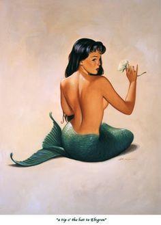 Vintage Pin Up Girl Illustration Pin Up Mermaid, Mermaid Art, The Little Mermaid, Mermaid Pinup, Mermaid Pose, Siren Mermaid, Mermaid Quotes, Mermaid Kisses, Mermaid Lagoon
