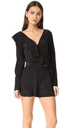 e6def0d16dd Diane Von Furstenberg Asymmetrical Silk Ruffle Romper  fashion  clothing   shoes  accessories