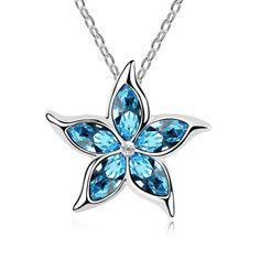 BLUE OCEAN STAR Pendant Necklace Mothers Day Gift w Authentic SWAROVSKI CRYSTAL | eBay