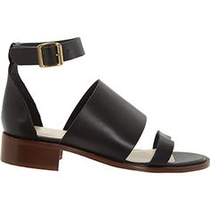 Spanish Black Leather Strappy Sandals