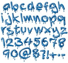 Melting Blue Font. Alphabet