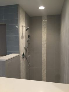 Bathroom Knee Wall vertical shower tile ideas | vertical tile - contemporary