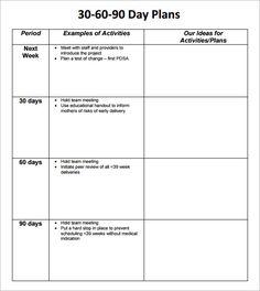 Sample 30 60 90 Day Plan Template   RMartinezedu   Pinterest   90 ...