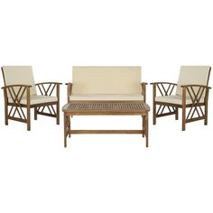 Safavieh Fontana Teak Finish Beige Acacia Wood 4-piece Outdoor Furniture Set - Overstock™ Shopping - Big Discounts on Safavieh Sofas, Chairs & Sectionals