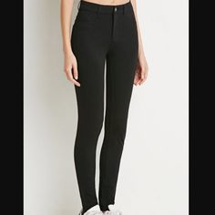 """NWT Black Classic Stretch-Knit Skinny Pants, Med For the days you want the look of denim without feeling confined (let's be honest, denim isn't always super comfy), opt for this pair of stretch-knit skinny pants! Featuring elements as seen on your favorite pair of jeans (like a zip fly, back patch pockets, and mock front pockets), these pants create a sleek illusion with your comfort in mind. Lightweight 68% rayon, 27% nylon, 5% spandex 28"""" inseam, 25"""" waist, 10"""" rise Hand wash cold Forever…"""