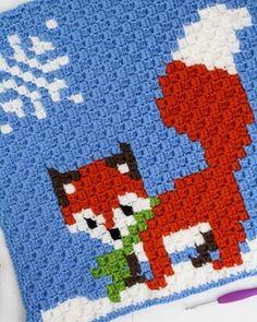 Corner to corner crochet winter fox. Part of the Woodland critters Blanket. Free crochet charts by Winding Road Crochet. Pixel Crochet, Crochet Fox, Manta Crochet, Crochet Chart, Crochet Blanket Patterns, Crochet Stitches, Free Crochet, Crochet Winter, Corner To Corner Crochet