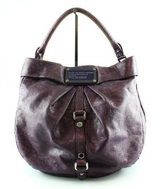 Marc By Marc Jacobs Purple Workwear Hobo Cow Leather, Leather Handle, Black Pattern, Workwear, Marc Jacobs, Purple, Bags, Handbags, Work Wear