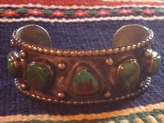 Beautiful Vintage Native American Silver & Turquoise Cuff Bracelet