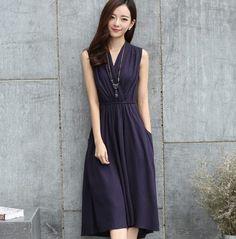 漫步生活☆[JS-C5160] 輕文藝。高腰V領無袖棉麻連衣裙(M~2XL)