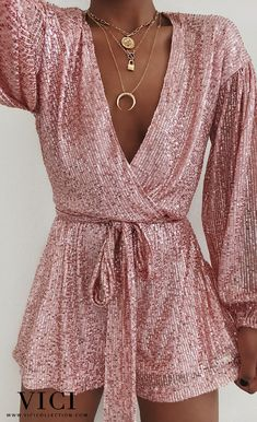 Cute romper via Discount Code: for off Romper: Eye Candy Sequin Pocketed Tie Romper… Girly Outfits, Classy Outfits, Pretty Outfits, Summer Outfits, Cute Outfits, Passion For Fashion, Love Fashion, Fashion Outfits, Cute Dresses