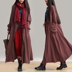 Women cotton linen loose fitting winter long coat - Tkdress  - 3