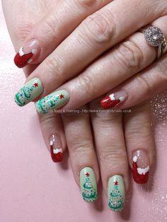 Red santa hats with contemporary christmas tree nail art