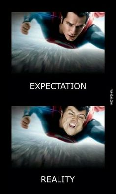Humor Picture and Comic: Man of Steel when Expectation meet Reality  #Manofsteel #superman #humor #funpict