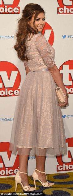 Covered-up: Jess' high-necked, length sleeve top was studded with sequins and offered just a glimpse of her waist from beneath her full bodied, knee length skirt, which boasted a net overlay Ferne Mccann, Chloe Sims, Jessica Wright, Plunge Dress, Choice Awards, Overlay, Cover Up, White Dress
