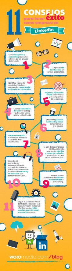 11 consejos para una Empresa en LinkedIn #infografia #infographic #socialmedia