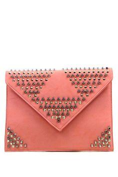 pink studded clutch $65