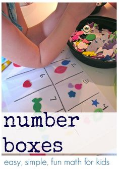 Try these number boxes for easy fun math for kids who are just learning their numbers! One to one correspondence is important for kids to learn and they can practice that with these number boxes! #teachmama #weteach #math #education #toddlers #elementary #mathisfun #mathactivities #preschool #kindergarten
