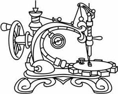 Embroidery Designs at Urban Threads - Steampunk Sewing Machine Paper Embroidery, Vintage Embroidery, Embroidery Applique, Vintage Sewing, Cross Stitch Embroidery, Machine Embroidery Designs, Embroidery Patterns, Sewing Machine Drawing, Urban Threads