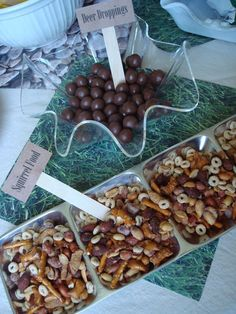 Deer Droppings (malt balls) and Squirrel Food (nut mix). - Deer Droppings (malt balls) and Squirrel Food (nut mix). Baby Shower Camo, Baby Shower Snacks, Baby Girl Shower Themes, Baby Shower Cookies, Shower Cake, Hunting Baby Showers, Deer Baby Showers, Hunting Birthday, Hunting Party