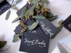 seeded eucalyptus to accent escort cards.