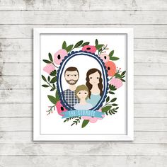Custom Portrait Illustration in Floral Wreath  Couple