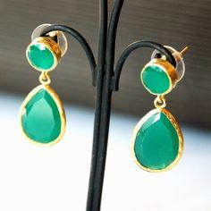 Angelina Jolie Style Green Jade Drop Earrings. $94.00, via Etsy.
