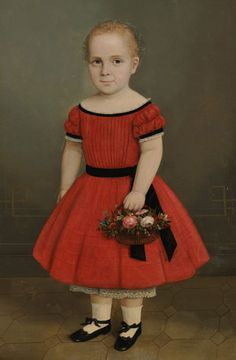 American School, 19th Century Portrait of a Blond-haired Girl Holding a Basket of Flowers