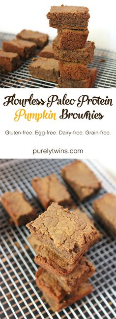 Flourless paleo protein pumpkin brownies. Healthy brownies that are easy to make and taste amazing. These will become your go-to recipe. Gluten-free. Grain-free. Egg-free-Dairy-free. | purelytwins.com