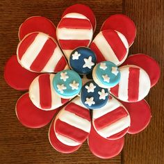 4th of July Decorated Cookies Flower Platter