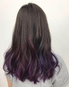 Hair Color Purple Ends Hairstyles 66 Ideas For 2019 beauty nails & hair Purple Brown Hair, Black Hair Ombre, Hair Color Purple, Hair Color For Black Hair, Purple Ombre, Plum Purple, Brown Hair With Purple Highlights, Hair Colors, Purple Hair Tips