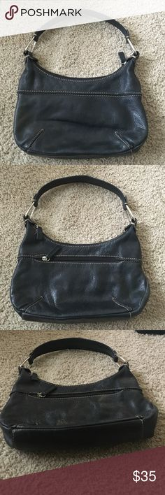 """Pelle Studio genuine leather black mini bag Enjoy this trendy high quality genuine leather shoulder bag from Pelle Studio. Dimensions taken while lying flat: length 11"""", curved height 6"""" to 8"""", width is 3 1/2"""", shoulder strap 17"""" length, 1.5"""" wide with a 7"""" drop Pelle Studio Bags Shoulder Bags"""