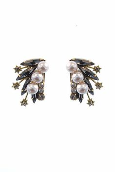 Pearl & Swarovski Crystal Halley Drop Earrings – Favery -- These stunning pearl and Swarovski crystal drop earrings feature bursts of crystal navettes and crystals topped with luminous glass pearls. These show-stopping earrings are set in detailed 24k gold plated brass and are finished with posts and push backs for a secure and comfortable fit.