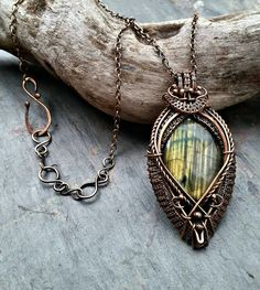 Labradorite and Bronze Necklace named Dawn by MandatoJewelryDesign
