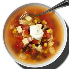 The Fat Fighting Diet:  Eight 500 cal dinners:  Spicy Southwestern Chicken Soup looks good!